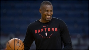 Toronto Raptors Serge Ibaka smiles at practice for NBA Finals in Oakland on Thursday June 6, 2019. THE CANADIAN PRESS/Frank Gunn