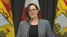 Dr. Jennifer Russell, New Brunswick's chief medical officer of health, provides an update on COVID-19 during a news conference in Fredericton on April 7, 2020.