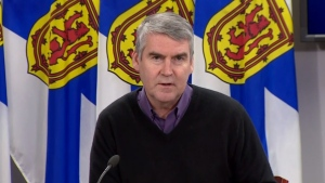 Nova Scotia Premier Stephen McNeil provides an update on COVID-19 during a news conference in Halifax on April 7, 2020.
