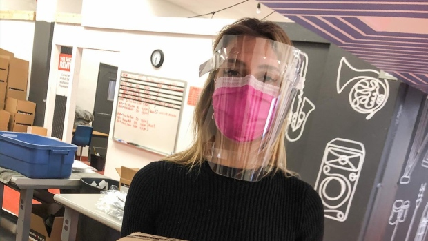 Catholic school staff print face shield parts for front-line workers
