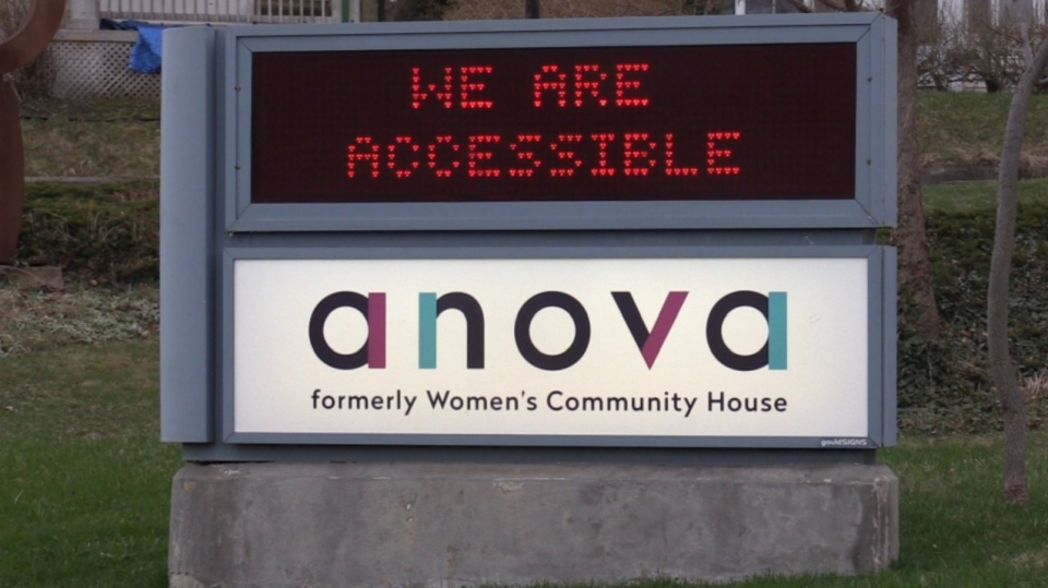 The sign for ANOVA is seen in London, Ont. on Tuesday, April 7, 2020. (Celine Zadorsky / CTV London)