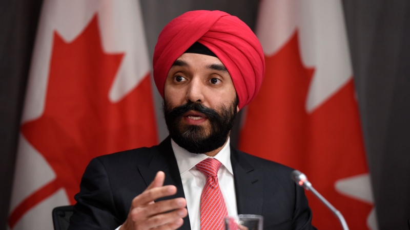 Minister of Innovation, Science and Industry Navdeep Bains speaks at a press conference on COVID-19 in West Block on Parliament Hill in Ottawa, on Friday, March 20, 2020. THE CANADIAN PRESS/Justin Tang