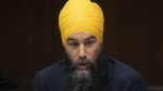 NDP Leader Jagmeet Singh speaks at the start of a two day caucus meeting in Ottawa, Wednesday January 22, 2020. The federal leader of the New Democrats made the case Saturday that his heavy focus on social programs will help rejuvenate the party's fortunes in Nova Scotia by the next provincial election. THE CANADIAN PRESS/Adrian Wyld