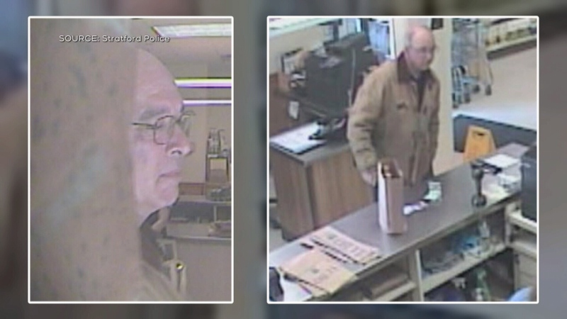 Security images of a man wanted by Stratford Police for coughing on an LCBO clerk.