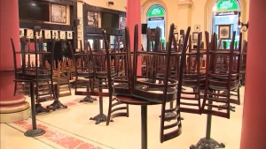 An empty restaurant dining room, closed due to COVID-19. (CTV News Edmonton)