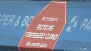 The Greater Saint John Region has indefinitely closed its blue recycling bins because of concerns that the staff who sort the material risk getting infected with COVID-19.