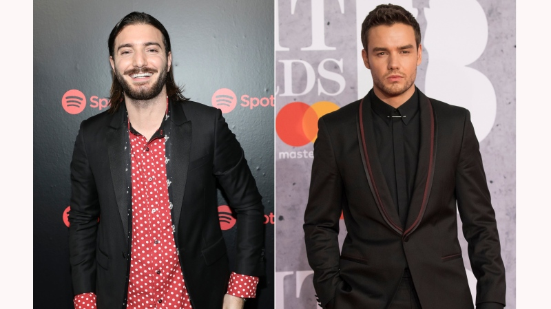 This combination photo shows Alesso, left, at Spotify's Best New Artists Party on Jan. 25, 2018, in New York and Liam Payne at the Brit Awards in London, Feb. 20, 2019. (AP Photo)