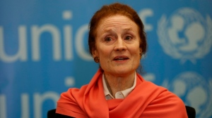 Henrietta Fore, executive director of UNICEF, speaks during an interview with the Associated Press, in Beirut, Lebanon, Thursday, March 8, 2018. (THE CANADIAN PRESS/Hussein Malla)