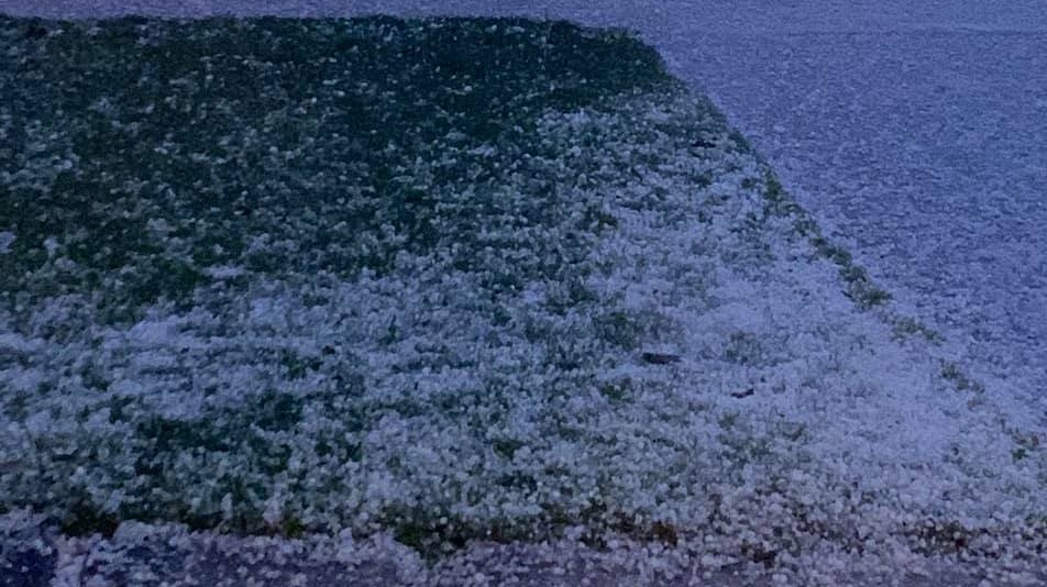Such a large amount of hail fell it almost looked like snow. (Courtesy Paul LaDouceur)