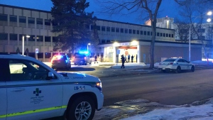 Police outside Glenrose Hospital