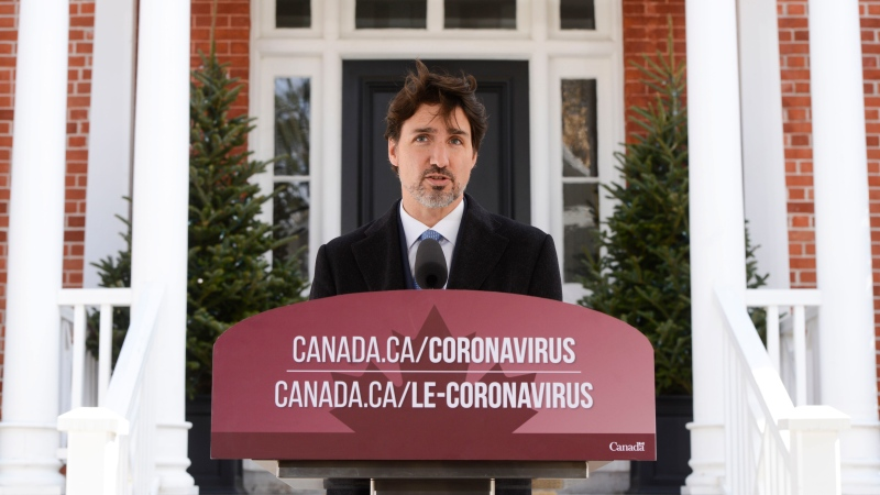Prime Minister Justin Trudeau addresses Canadians on the COVID-19 pandemic from Rideau Cottage in Ottawa on Tuesday, April 7, 2020. THE CANADIAN PRESS/Sean Kilpatrick