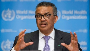 In this Monday, March 9, 2020 file photo, Tedros Adhanom Ghebreyesus, Director General of the World Health Organization speaks during a news conference on updates regarding on the novel coronavirus COVID-19, at the WHO headquarters in Geneva, Switzerland. (Salvatore Di Nolfi/Keystone via AP, file)