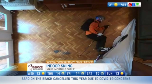 Morning smile, indoor skiing