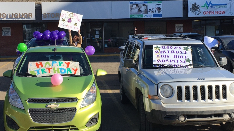 A parade of one dozen balloon-adorned cars with honking horns helped the Lois Hole Hospital for Women safely celebrate its 10th anniversary on April 8, 2020.