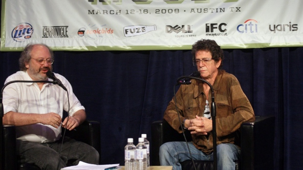 Lou Reed, right, gives the keynote with music producer Hal Willner at the SXSW Music Conference in Austin, Texas on March 13, 2008. (Jack Plunkett / AP)