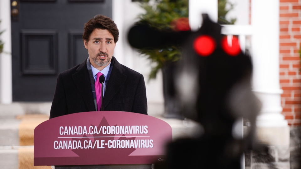 Prime Minister Justin Trudeau addresses Canadians on the COVID-19 pandemic from Rideau Cottage in Ottawa on Wednesday, April 8, 2020. THE CANADIAN PRESS/Sean Kilpatrick