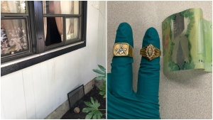 Photos from the Coquitlam RCMP show a rock allegedly used in a break-in, and the jewelry and cash they say was stolen.