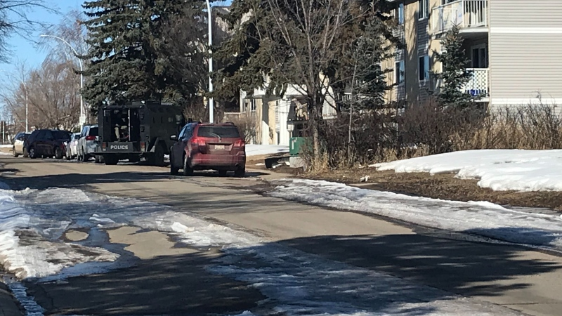 Police had a tactical vehicle outside of an apartment building in northeast Edmonton after being called for a report of domestic violence. April 8, 2020. (CTV News Edmonton)
