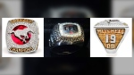Photographs of Bo Levi Mitchell's 2018 Grey Cup and 2018 Most Outstanding Player rings that were stolen from his truck on Jan. 2, 2020 (CPS)