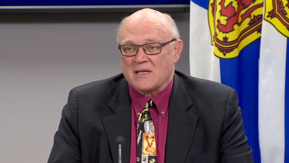 Nova Scotia Chief Medical Officer of Health Dr. Robert Strang provides an update on COVID-19 during a news conference in Halifax on April 8, 2020.