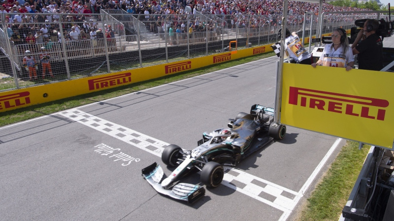 Mercedes driver Lewis Hamilton wins the Canadian Grand Prix in Montreal, on June 9, 2019 in Montreal. (Paul Chiasson / THE CANADIAN PRESS)