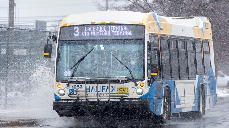 A Halifax Transit bus drives a route in Dartmouth, N.S. on Thursday, March 26, 2020.  (THE CANADIAN PRESS/Andrew Vaughan)
