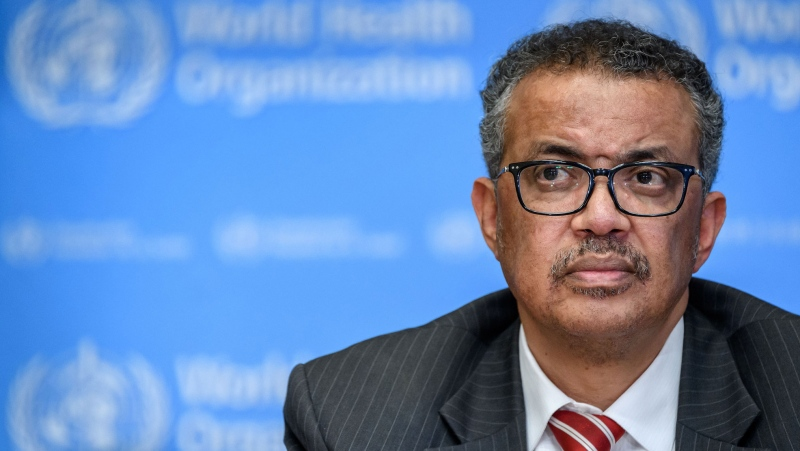 The head of the World Health Organization on Wednesday defended the organization's response to the coronavirus pandemic, at one point directly responding to criticisms levelled by U.S. President Donald Trump. (Fabrice Coffrini/AFP/Getty Images)
