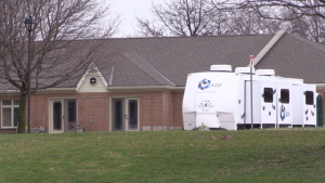 A trailer sits outside Huronview Long-Term Care Home in Clinton, Ont. on Wednesday, April 8, 2020. (Scott Miller / CTV London)