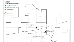 There are four COVID-19 treatment facilities planned in the City of Regina. (Map by: The Government of Saskatchewan)