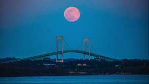 A Rhode Island resident captured this timelapse of the pink supermoon, the biggest full moon of the year.