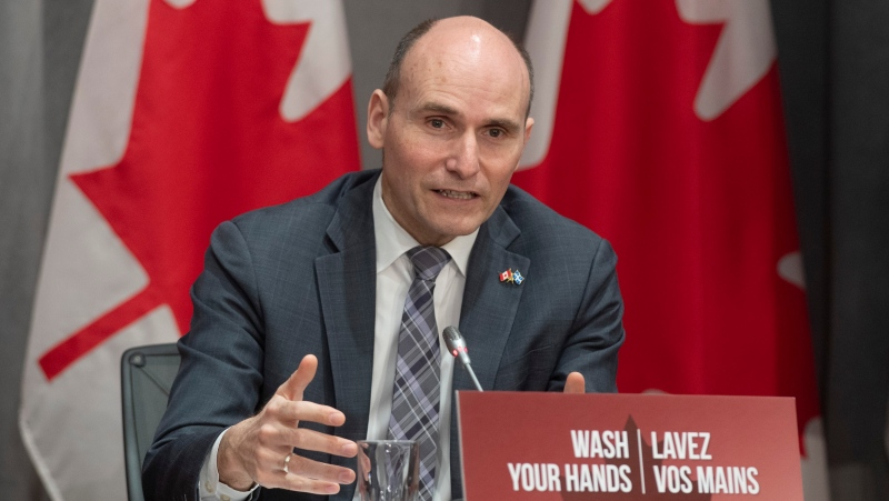 President of the Treasury Board Jean-Yves Duclos responds to a question during a news conference in Ottawa, Wednesday April 8, 2020. THE CANADIAN PRESS/Adrian Wyld