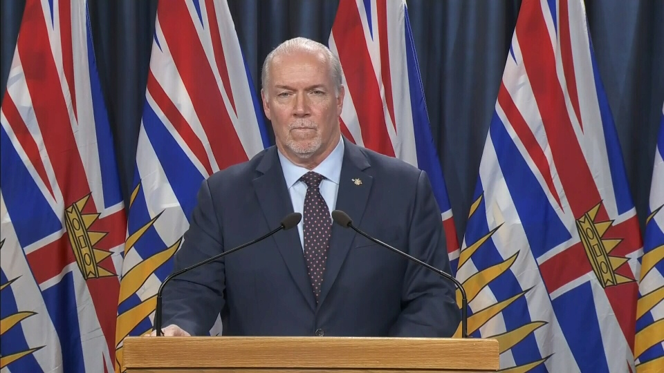 B.C. Premier John Horgan announces new travel measures for returning residents on April 8, 2020. (CTV News)