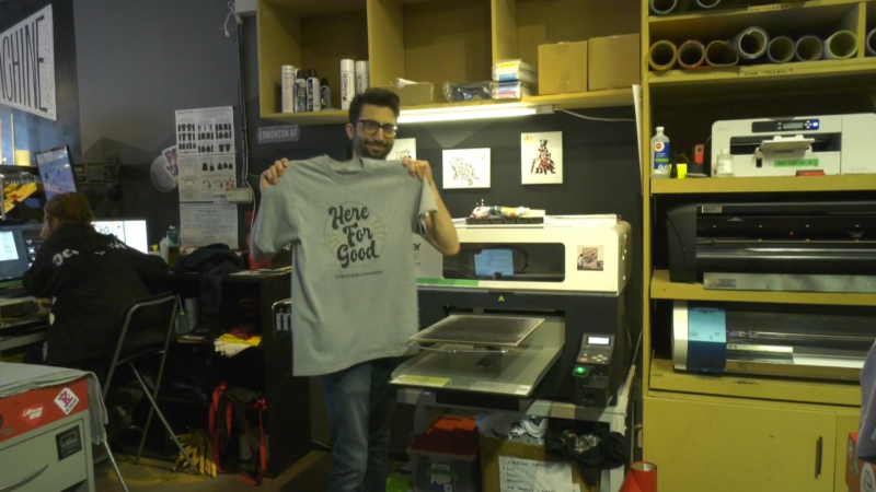 "Print Machine is selling t-shirts that read ""Here for Good,"" ""I <3 YEG"" or a local business' logo."