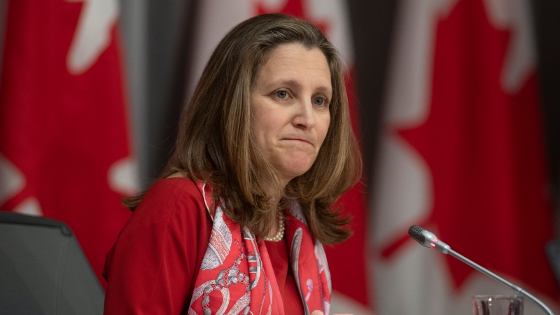 Deputy Prime Minister and Minister of Intergovernmental Affairs Chrystia Freeland is seen during a news conference in Ottawa, Wednesday, April 8, 2020. THE CANADIAN PRESS/Adrian Wyld