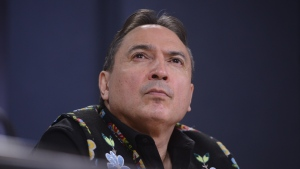 Assembly of First Nations (AFN) National Chief Perry Bellegarde listens during a press conference at the National Press Theatre in Ottawa on Tuesday, Feb. 18, 2020. THE CANADIAN PRESS/Sean Kilpatrick