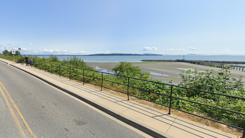 The White Rock Pier is seen from Marine Drive in this image from Google Street View.