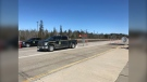 A checkpoint at the Manitoba border is pictured in a file photo. The Mayor of Kenora is calling for a halt to all non-essential travel between the Manitoba-Ontario border to avoid overwhelming the hospital in his town.  (Photo courtesy Josh Crabb)