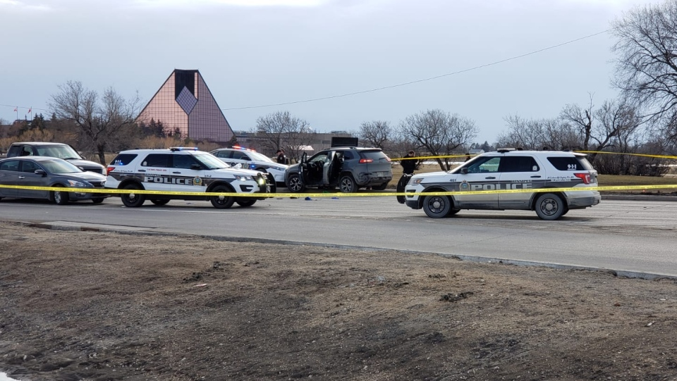 A police incident at Lagimodiere Boulevard and Fermor Avenue in Winnipeg on April 8, 2020. (Submitted)