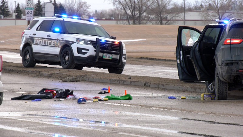 A police incident at Lagimodiere Boulevard and Fermor Avenue in Winnipeg on April 8, 2020. (Source: Glenn Pismenny/ CTV news Winnipeg)