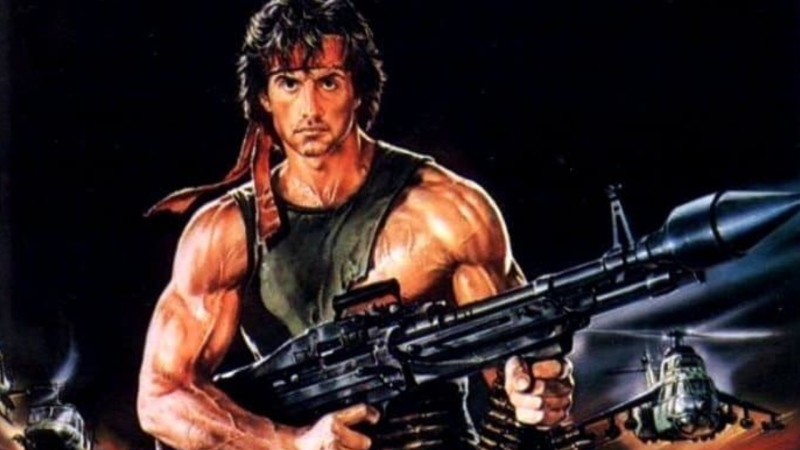 "Sylvester Stallone is seen in artwork for the movie ""Rambo: First Blood Part 2."" (Tristar Pictures)"
