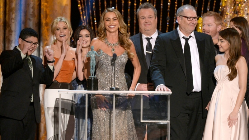 "The cast of ABC's ""Modern Family"" is seen at the Screen Actors Guild Awards in 2014. (AFP)"