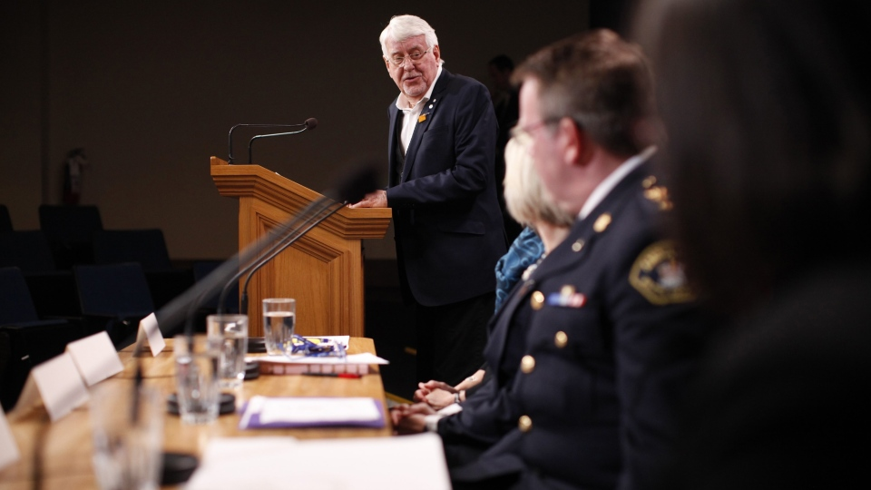 Dr. Perry Kendall speaks about the illicit drug toxicity deaths in the province during a press conference at B.C. Legislature in Victoria, B.C., on Monday, February 24, 2020. (THE CANADIAN PRESS/Chad Hipolito)