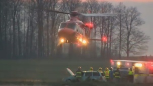 An Ornge air ambulance transported a woman to hospital after a crash near Elmira on Wednesday night.