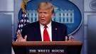 U.S. President Donald Trump speaks about the coronavirus in the James Brady Press Briefing Room of the White House, Wednesday, April 8, 2020, in Washington. (AP Photo/Alex Brandon)