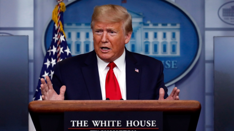 U.S. President Donald Trump speaks about the coronavirus in the James Brady Press Briefing Room of the White House, Wednesday, April 8, 2020, in Washington. (AP Photo/Alex Brandon)