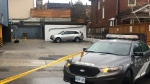 Police investigate a fatal shooting in Toronto's midtown on April 9, 2020. (Kenneth Enlow/CTV News Toronto)