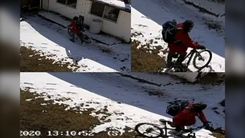 Surveillance images of the suspect in an April 3 break-and-enter in Marlborough where a custom-made rifle was stolen (CPS)