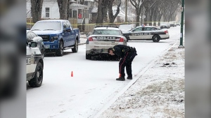 "Winnipeg police continue to investigate a ""serious incident"" on Anderson Avenue Thursday morning. (CTV News Photo/Kenneth Gabel)"