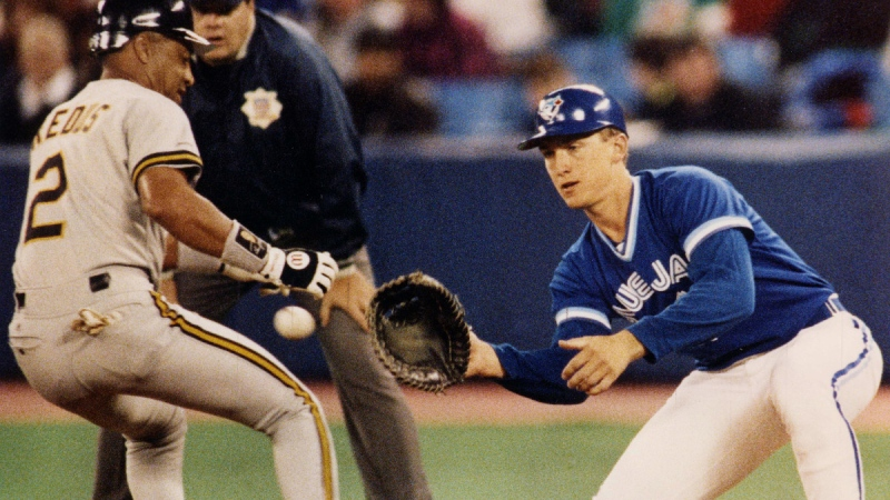 Toronto Blue Jays first baseman John Olerud in Toronto on March 13, 1992. (Scott MacDonald / The Canadian Press)