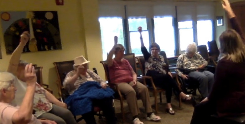Spruce Lodge residents participate in a video titled, We All Live in Quarantine. 